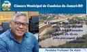 Câmara parabeniza vereador De Assis pela passagem do aniversário